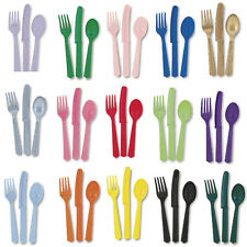18 Piece Plastic Cutlery Sets Solid Colours Knife Fork Spoon Party Catering Food