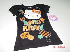 NWT Girls Hello Kitty Halloween Themed Shirt Black Orange Pumpkins Hearts