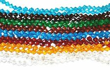 SOLID GLASS COLOURED CRACKLE BICONE CRAFT BEADS - 6mm / 8mm - VARIOUS COLOURS