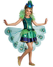 Peacock Fairytale Fancy Dress Up Girls Halloween Party Child Costume S-L