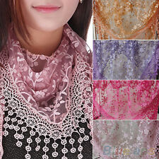 Beautiful Tassel Lace Rose Floral Knit Triangle Hollow Mantilla Scarf Shawl Wrap