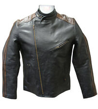 Amerileather Dual Leather Stripe Motorcyle Jacket (#296) - XL only