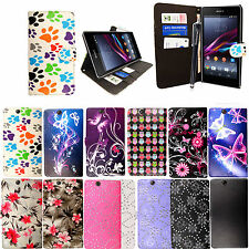 For Sony Xperia Z Ultra XL39H Printed Leather Book Flip Case Cover+Guard+Stylus