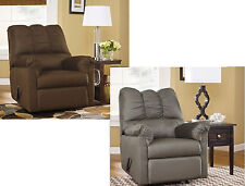 ASHLEY DARCY SIGNATURE FABRIC UPHOLSTERED ROCKER RECLINER IN CAFE OR COBBLESTONE