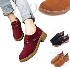 Women Casual Shoes Oxford Lace Up Suede Round Toe Flats Low Heel Ankle Boots Com