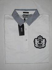 Nwt HUGO BOSS Janis 64 White Blue Logo Pique Polo T-Shirt Black Label