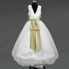 WHITE FLOWER KIDS GIRL DRESS PAGEANT WEDDING BRIDESMAID DANCE PARTY 0 8 10 12