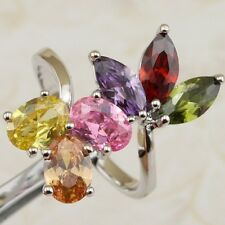 Size 6 7 8 9 Crazy Nice Multi-Color CZ Gems Jewelry Gold Filled Lady Ring K2158