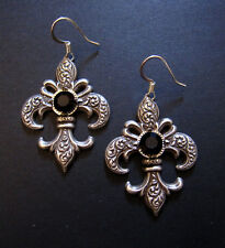 FLEUR DE LIS Gothic VICTORIAN Renaissance Steampunk Medieval Earrings Silver NEW