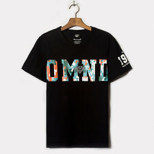 Fashion Men's Personality OMND letters camouflage loose short-sleeved T-shirt