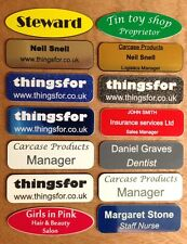Etched Name Badges with brooch pin etched with your own text