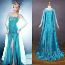 Christmas Women lady Frozen Princess Elsa Fancy Dress Adult Costumes Gown Dress