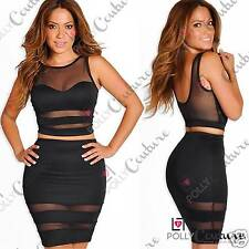 Womens Celeb Bodycon Crop Top Skirt Sheer Mesh Sexy Party Two Piece Dress Set