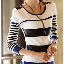 New Womens Striped Long sleeve Bottoming Slim Pullover Sweater T-shirts Tops