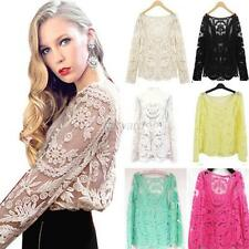 Women's Embroidery Crochet Floral Long Sleeve T-Shirt Sheer Lace Blouse Tops F80