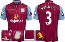 *14 / 15 - MACRON ; ASTON VILLA HOME SHIRT SS + PATCHES / BENNETT 3 = SIZE*