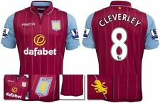 *14 / 15 - MACRON ; ASTON VILLA HOME SHIRT SS + PATCHES / CLEVERLEY 8 = SIZE*