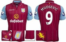 *14 / 15 - MACRON ; ASTON VILLA HOME SHIRT SS + PATCHES / MILOSEVIC 9 = SIZE*
