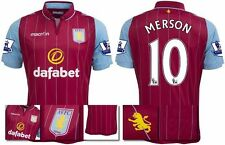 *14 / 15 - MACRON ; ASTON VILLA HOME SHIRT SS + PATCHES / MERSON 10 = SIZE*