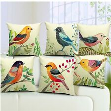 Flower Bird Printed Square Cotton Linen Pillow Case Throw Cushion Cover Decor