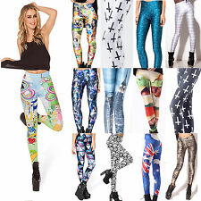 Women Graphic Printed 3D Punk Stretchy Leggings Yoga Gym Funky Pencil Pants New