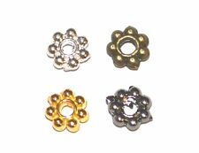 100 SILVER / GOLD PLATED SMOOTH METAL ROUND FLOWER SPACER BEADS - 4mm, 6mm LOOP