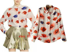 New Women Sexy Mouth Lips Printed Lapel Long Sleeve Faux Silk Shirts Blouse Tops