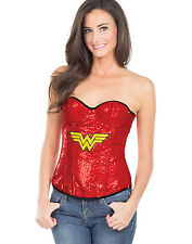 Sexy Wonder Woman Red Sequin Corset New Womens Super Hero  Fancy Dress S-L