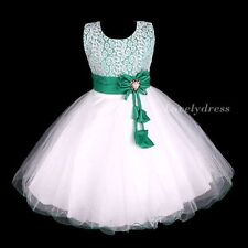 NEW Flower Girl Wedding Pageant Party Bridesmaid Dress Wears Green SZ 4-9 Q557