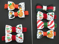 2pc or 4pc Set Halloween Holiday XMAS Clippies Baby Toddler Girls Hair Bow Clips