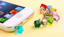 AEC33 3.5mm Charming Colorful Crystal Cube Anti Dust Plug Cover For Cell Phone
