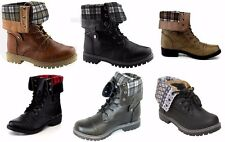 Girls Boys Kids Youth Lace Up Flannel Fold Over Cuff Military Combat Boot Shoes