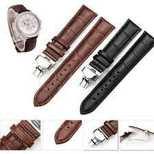Butterfly Buckle Genuine Leather Deployant Watch Band Bracelet Strap Black/Brown