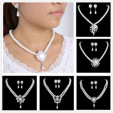 Hot White Swarovski Crystal Pearls Necklace +flower Earring Set for Wedding