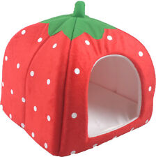 Soft Strawberry Pet Dog Cat Bed House Kennel Doggy Warm Cushion Basket 3Size