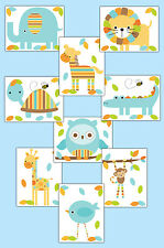 Mod Jungle Woodland Animals 8x10 Wall Art Prints Boy Safari Nursery Room Decor