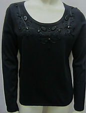 NWT Oscar De La Renta Black Knit Top S & M $89