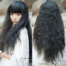 women fashion weave wig corn curly wavy long hair full wigs cosplay party wig