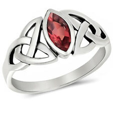 CELTIC DESIGN MARQUISE CUT Red Ruby .925 Sterling Silver Ring Sizes 5-10