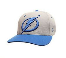 Tampa Bay Lightning Zephyr Athlete Curved Bill Fitted Hat NHL Baseball Cap Grey
