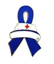 Blue Awareness Ribbon Nurse Cap Pin Colon Cancer Child Abuse Crohn's ARDS New