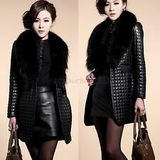 Lady Womens Faux Leather Faux Fur Long Sleeve Coat Jacket Long Outerwear S-XXL