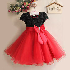 Christmas Girls Kids Princess Wedding Party Bow Ball Gown Fancy Dress Costume