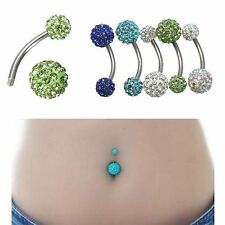 Piercing Ombelico Barra Acciaio Chirurgico Cristallo Strass Navel Ring Belly 1PC