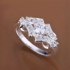 Fashion S925 Sterling Silver Plated Crystal Ring US Size 6,7,8,9 Wedding