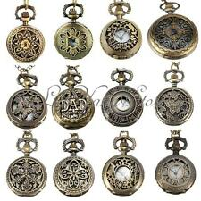 Vintage Mens Lady Bronze Antique Pendant Necklace Chain Hollow Pocket Watch Gift