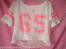 Nwt Aeropostale Athletic Sheer Lace Back Top T Shirt Crop Blouse Neon Graphics