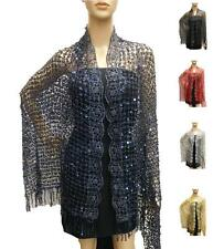 Wrap Shawl Net Style Thin Evening Lace Elegant Sequin Tassels Scarf