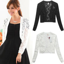 Plus Size Elegant Women Floral Lace Top Long Sleeves Shrug Cover Up MJ9620