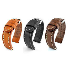 18mm, 20mm, 22mm, 24mm Leather Watch Strap Guality Band Catalonia Black Burn